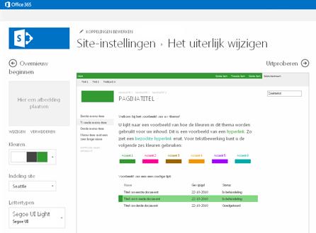Voorbeeld van scherm dat gebruikt wordt om lettertype, kleur en indeling van uw site te wijzigen.