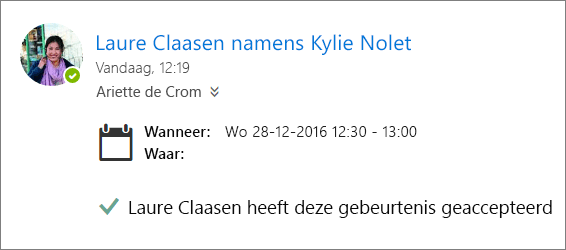 Een schermafbeelding van een uitnodiging voor een vergadering die is geaccepteerd door een gedelegeerde.