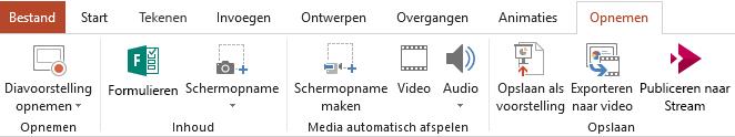 Toont het tabblad Opnemen op het lint in PowerPoint 2016