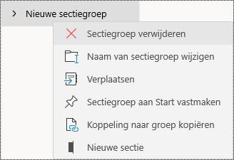 Sectiegroepen verwijderen in OneNote-app voor Windows 10
