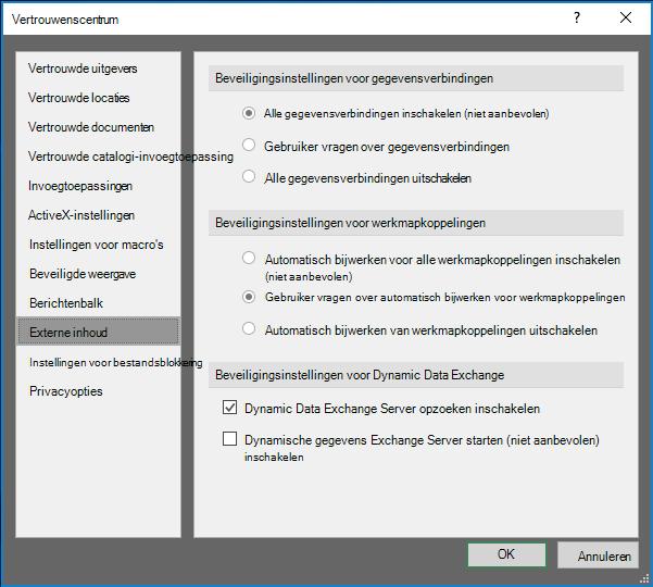 Instellingen voor externe inhoud in het Vertrouwenscentrum van Excel