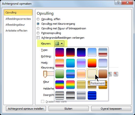 Als u een vooraf ingestelde kleurovergang wilt gebruiken, selecteert u Kleuren en selecteert u een optie.