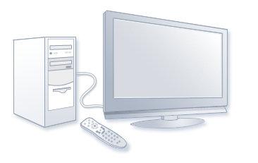 Een pc aangesloten op de tv, samen met een Windows Media Center-afstandsbediening.
