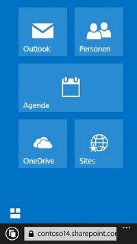 Met de navigatietegels van Office 365 naar sites, bibliotheken en e-mail gaan