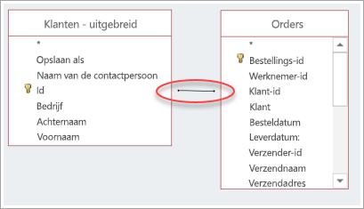Schermafbeelding van een join tussen twee tabellen