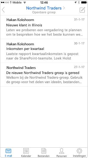De gespreksweergave in de mobiele app van Outlook