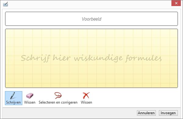 Hiermee wordt het deelvenster Handgeschreven vergelijking in Word weergegeven