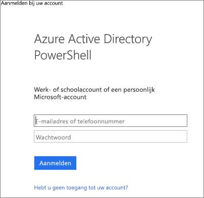Voer de Azure Active Directory-beheerdersreferenties in