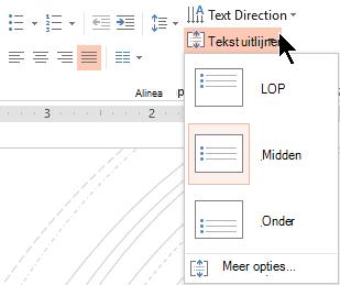 Het menu tekst uitlijnen op het lint kunt u bepalen of tekst verticaal uitgelijnd op de boven of onder aan de container of verticaal is gecentreerd in het midden.