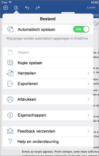 Via de knop Bestand in Word voor iOS kunt u afdrukken, opslaan, feedback verzenden en nog veel meer.