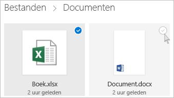 Schermafbeelding van het selecteren van een bestand in OneDrive in de tegelweergave