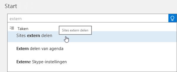 Schermafbeelding van het typen van extern delen in het zoekvak op de startpagina van het beheercentrum