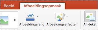 De knop alternatieve tekst op het lint in PowerPoint voor Mac