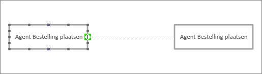 Einde van verbindingslijn over andere levenslijn-shape gesleept, met groene markering rond verbindingspunt