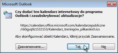 Okno dialogowe dodawania całego kalendarza internetowego do programu Outlook