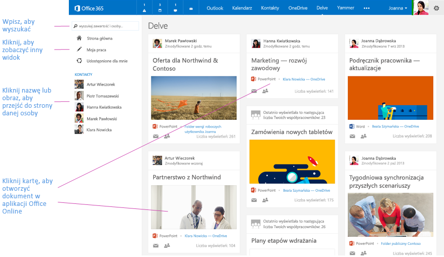 Aplikacja Delve pokazuje dokumenty ważne dla użytkownika