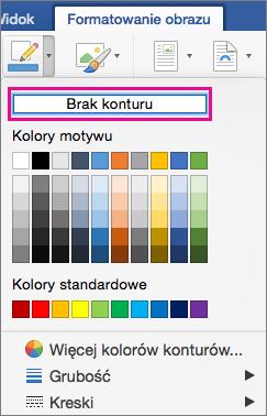 Pozycja Brak konturu wyróżniona w menu Obramowanie obrazu