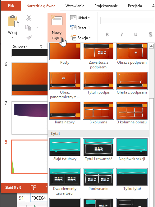 Kliknij strzałkę obok przycisku Nowy slajd, aby wyświetlić wybór wzorców