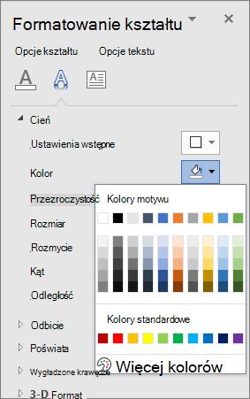 Zaznaczenie kolorów cienia tekstu WordArt