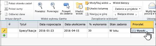 Wprowadzanie tytułu, daty i stanu zadania w projekcie