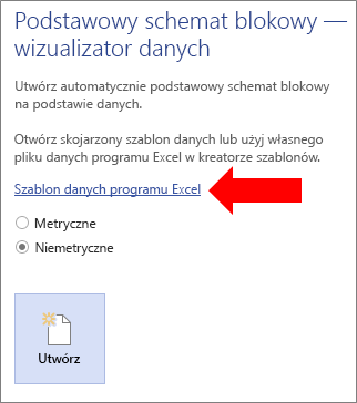 Wybieranie linku szablonu danych programu Excel