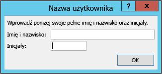 Okno dialogowe Nazwa użytkownika