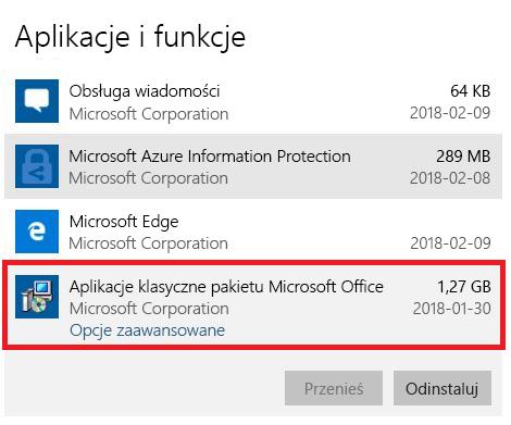 Aplikacje klasyczne pakietu Microsoft Office