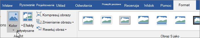 Kliknij kartę Format, a następnie kliknij kolor