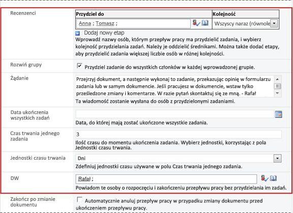 Druga strona formularza skojarzenia ze zidentyfikowanymi polami formularza inicjowania