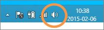 Fokus na ikonie głośników systemu Windows wyświetlanej na pasku zadań