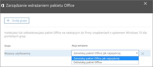 W okienku Zarządzaj wdrożeniem pakietu Office wybierz pozycję Zainstaluj pakiet Office jak najszybciej lub Odinstaluj pakiet Office.