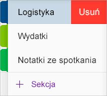 Usuwanie sekcji w aplikacji OneNote dla systemu iOS