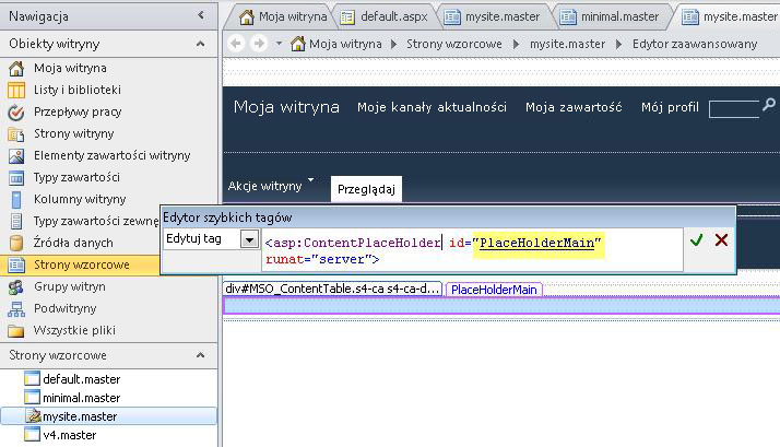 Kontrolka PlaceHolderMain jest zastępowana przez stronę zawartości, gdy strona wzorcowa witryny Moja witryna jest wyświetlana w przeglądarce.