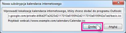 Subskrypcja kalendarza internetowego
