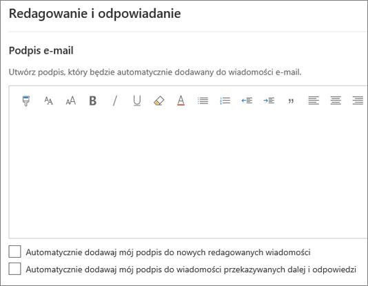 Tworzenie podpisu e-mail w aplikacji Outlook w sieci Web