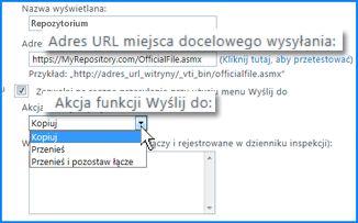 Zrzut ekranu sekcji Ustawienia połączenia strony Połączenie funkcji Wyślij do w centrum administracyjnym usługi SharePoint Online. Tutaj możesz określić adres URL lokalizacji docelowej organizatora zawartości.