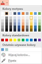 Wybierz strzałkę zmiany kolejności w dół obok przycisku Kolor czcionki, aby otworzyć menu kolorów