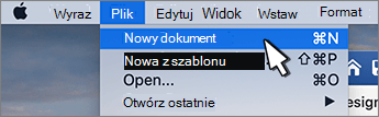 Opcja nowy dokument