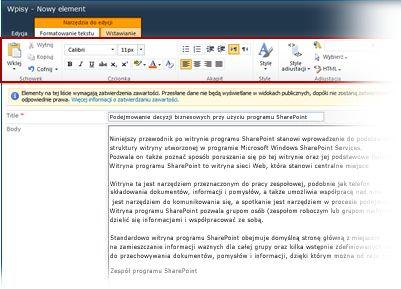 Edytor tekstów sformatowanych do obsługi blogów