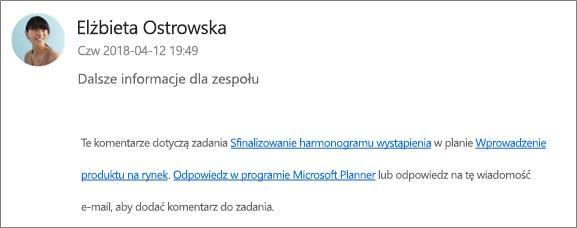 Przechwytywanie zawartości ekranu: wyświetlanie wiadomości e-mail z grupą, w której współpracownik odpowiada na pierwszy komentarz.