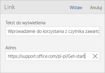 Zrzut ekranu przedstawiający okno dialogowe Link aplikacji Word Mobile z polami Tekst do wyświetlenia i Adres.