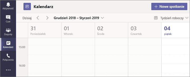 Wybierz Kalendarz, a następnie wybierz Nowe spotkanie.