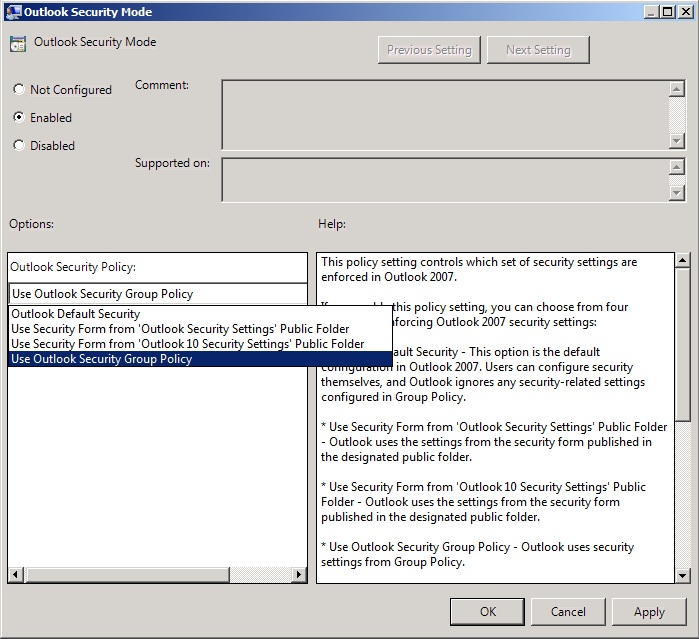 Screen shot for Outlook Security Mode