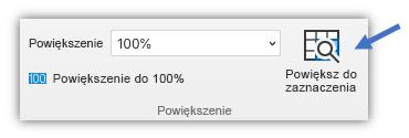 Zrzut ekranu przedstawiający przycisk powiększenia zaznaczenia znajdujący się na karcie Widok na wstążce.