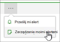 Przycisk alerty programu SharePoint Online Zarządzanie wyróżnione