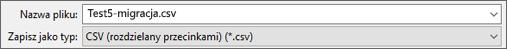 Przedstawia opcję zapisania jako pliku CSV w programie Excel