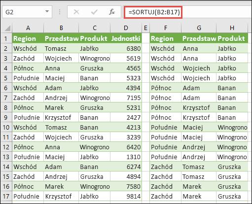 Sortowanie według regionu, produktu pojedynczo z =SORT(A2:A17) kopiowane i stanowisku Przedstawiciel handlowy