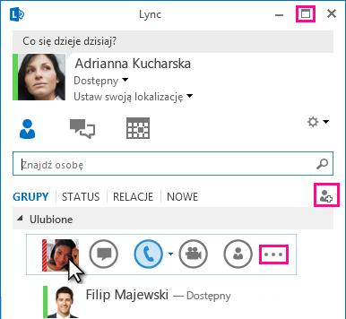 Zrzut ekranu przedstawiający pasek Szybka komunikacja