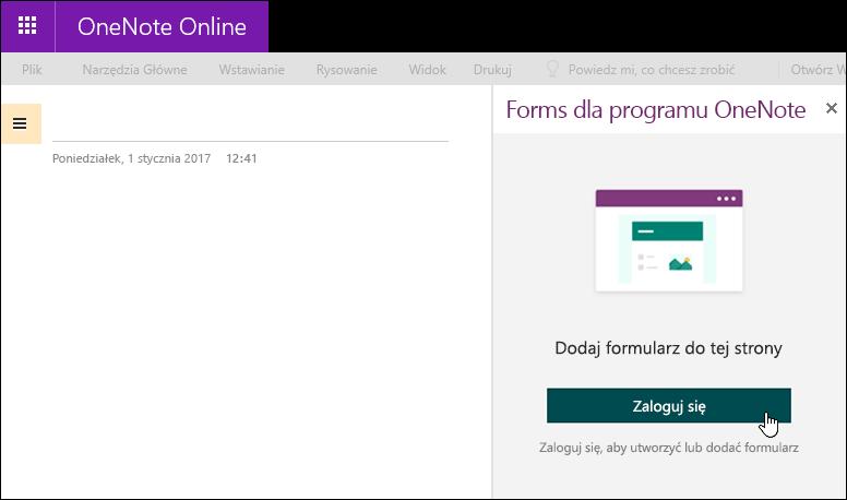 Panel Forms dla programu OneNote w aplikacji OneNote Online