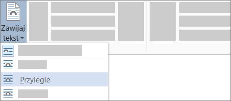 Opcja Zawijanie przylegające tekstu na wstążce